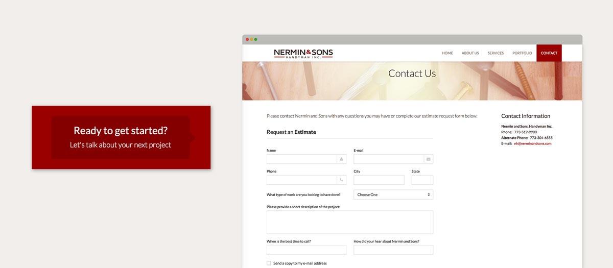 Nermin & Sons website estimate screen