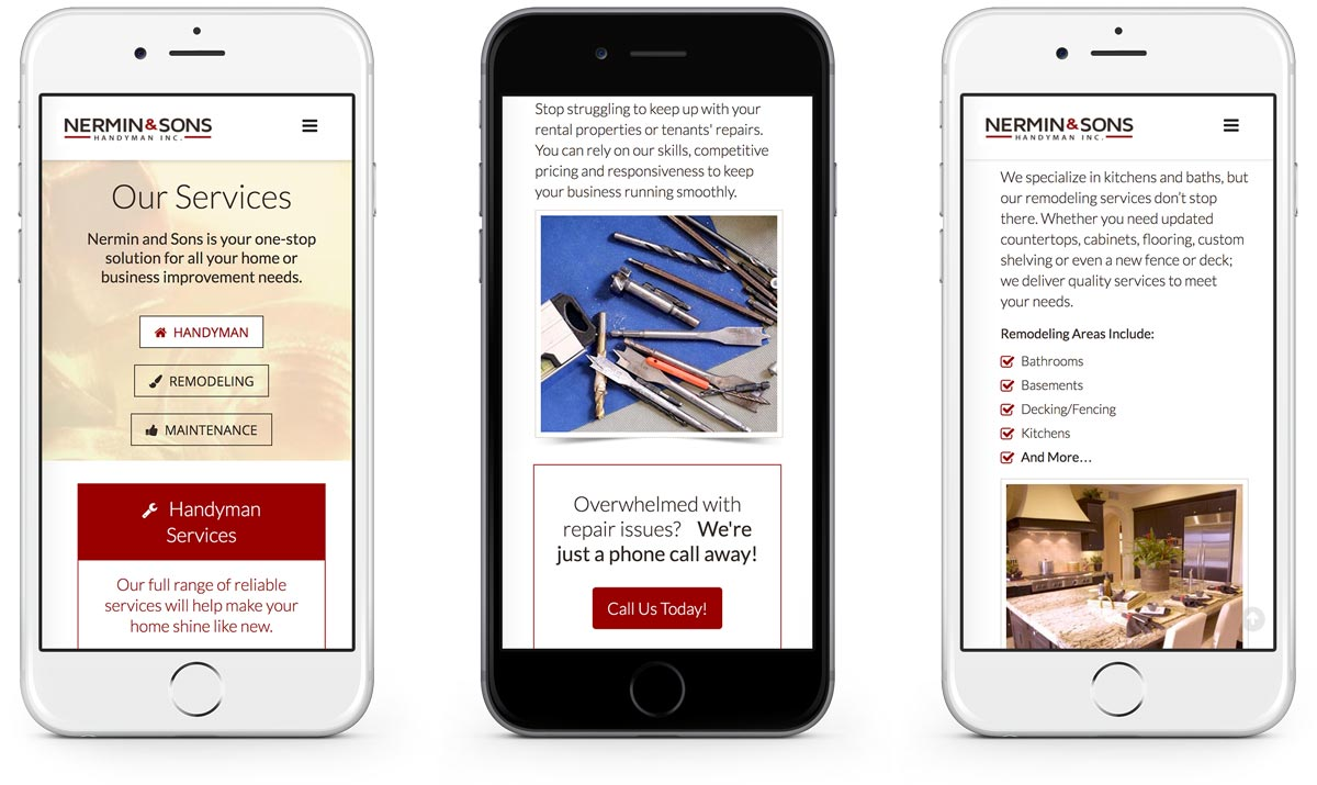Nermin & Sons service pages on iphone